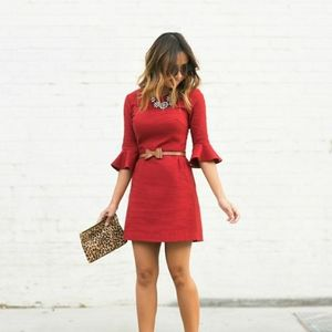 Topshop Petite Red Bell Sleeve Dress NWT